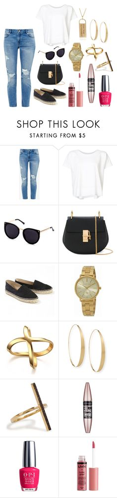 """Ripped Jeans and Chanel Flats"" by yjmunson ❤ liked on Polyvore featuring Ted Baker, Issey Miyake, Chloé, Chanel, Michael Kors, Lana, Ileana Makri, Maybelline, OPI and Charlotte Russe"