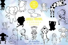 Jungle Animals, Design Bundles, How To Draw Hands, Clip Art, Exercise, Illustration, Ejercicio, Hand Reference, Excercise