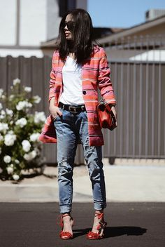 spring outfit, summer outfit, colorful outfit, statement outfit, casual outfit, night out outfit, street chic style - colorful stripe blazer, white t-shirt, black western belt, boyfriend jeans, red lace up sandals, black round sunglasses, red shoulder bag
