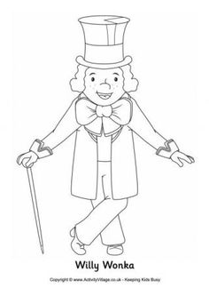 Colour in our fun interpretation of Willy Wonka, owner of the exciting Chocolate Factory which Charlie Bucket and the other winners of Golden Tickets tour. Charlie And The Chocolate Factory Crafts, Wonka Chocolate Factory, Colouring Pages, Coloring Pages For Kids, Coloring Sheets, Roald Dahl Activities, Book Activities, Charlie Chaplin, Roald Dahl Characters