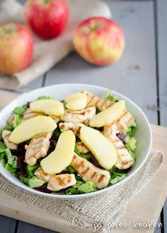 wintersalade met kip en appel