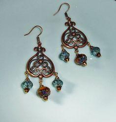 Copper Chandelier Earrings Fleur de lis by JewelrybyJacobe on Etsy