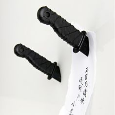 "If you have something very important to tell someone in your house or office, it's best to get to the point. Keep it short and sweet then hang it on the fridge or whiteboard with a 3.5"" long Ninja Knife."