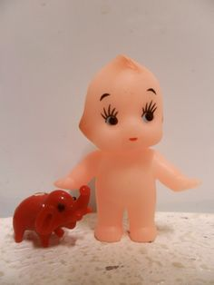 Kewpie & Red Elephant Kewpie, Vintage Ornaments, Hello Kitty, Elephant, Miniatures, Dolls, Red, Home Decor, Baby Dolls