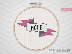 NOPE counted cross stitch pattern easy funny modern xstitch snarky subversive sarcastic sampler typography nerdy rude banner diy  pdf