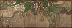 Spring Trees and Grasses by a Stream, second half of the 17th century. Japan. The Metropolitan Museum of Art, New York. H. O. Havemeyer Collection, Gift of Horace Havemeyer, 1949 (49.35.2) | A glimpse of cherry blossoms in evanescent glory before they scatter on the stream marks the peak of spring, while kerria (mountain roses) in bloom on the far bank betoken its passing. #spring