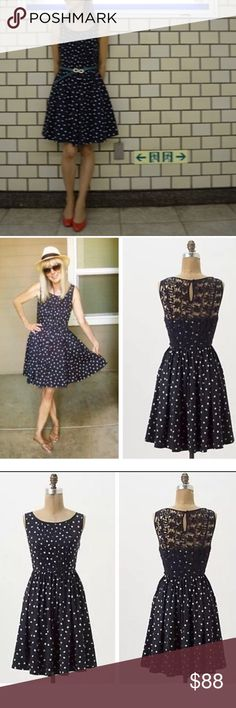 Navy and White Polka Dot Anthropologie Dress Beautiful navy blue with white Polka dots dress from Anthropologie. Size 6, fits true to size. Has beautiful lace back. No signs of wear, gently used. All reasonable offers accepted through offer button. More photos to come. Anthropologie Dresses