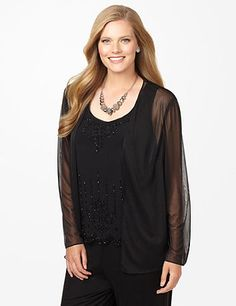 Nights In Venice Duet - this duet top features a sheer, draping cardigan over an elegantly embellished tank. Delicate beadwork cascades upwards from the scalloped hem to adorn the flattering, scoop neckline.