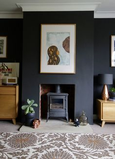 A Living Room Update - making spaces - Crown Night Fever Black walls make the art work pop in Making Spaces' living room - Dark Living Rooms, Living Room Update, Home Living Room, Living Room Designs, Living Room Decor, Dark Rooms, Log Burner Living Room, 1930s Living Room, Chimney Decor