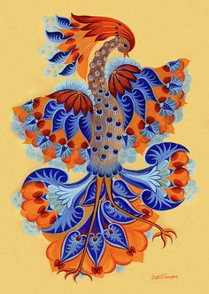 -firebird-olena-skytsiuk - Beautiful Petrykivka Paintings by Olena Skytsiuk Tole Painting, Fabric Painting, Painting & Drawing, Madhubani Painting, Popular Paintings, Handmade Paint, Canvas Art, Canvas Prints, Ukrainian Art