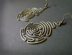 Spiral Labyrinth Wire Wrapped Brass Earrings by Hvitolg on Etsy