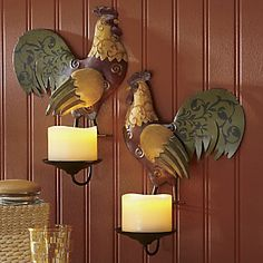 Set of 2 Rooster Sconces from Through the Country Door®