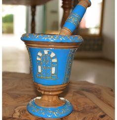 Mortier et pilon en bois d'olivier : Bleu Big Hearts, Barware, Planter Pots, Portrait, Country, Bowls, Tableware, Mortar And Pestle, Pepper