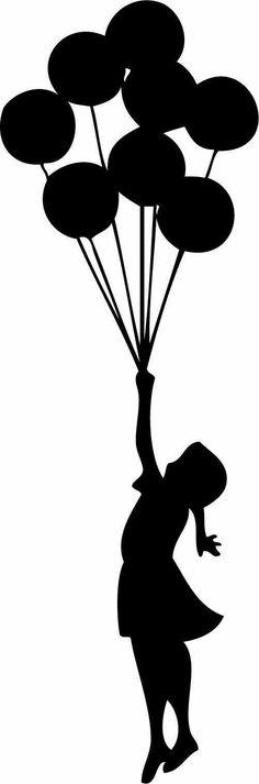 Banksy Inspired Floating Balloons MEDIUM Interior by wallstickz Girl Silhouette, Silhouette Portrait, Floating Balloons, Its A Girl Balloons, Girl With Balloon, Crayon Art, Button Art, Banksy, Art Plastique