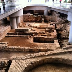 Archeological dig covered by the new Acropolis museum. Not far to go to collect the antiquities. Museum, Mount Rushmore, Rome, Greece, Construction, Explore, Antiquities, History, Aliens