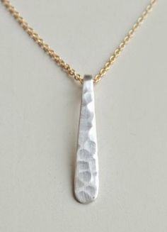 Jane Necklace Simple Mixed Metal Modern Hammered Drop by Flow Designs