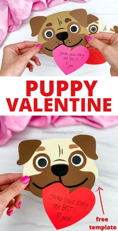 Want to get creative on Valentine's Day? Make this puppy valentine craft with the kids. Download the free printable template on the blog and make it with preschool, kindergarten, and elementary age children. Puppy Valentines, Valentine Stuff, Valentine Crafts For Kids, Valentines Day Activities, Valentine Day Gifts, Activities For Kids, Valentine's Day Printables, Printable Cards, Free Printable