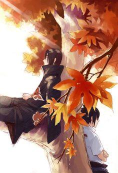 Naruto Shippuden » Fanart + <3 | Itachi and Sasuke, Autumn trees | #itachi #sasuke