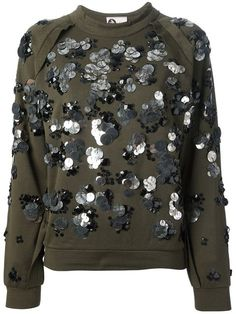 Shop for gem embellished sweatshirt by Lanvin at ShopStyle. Fashion Line, Knit Fashion, Modest Fashion, Fashion Outfits, Funky Outfits, Casual Outfits, Penelope, Sequin Sweater, Embroidery Fashion