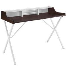 Bin Wood-Grained Melamine Top Metal Legs Office Desk in Cherry