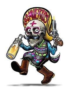 Los muertos / tequila by Groenewold Mauricio, via Behance Mexican Skull Tattoos, Mexican Skulls, Day Of The Dead Artwork, Day Of The Dead Skull, Chicano Tattoos, Chicano Art, Tattoo Caveira, Skull Illustration, Skull Artwork