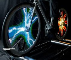 The Monkey Light Pro creates stunning hologram-like images and animations within a bicycle wheel. Once you're rolling, the display fills the bike wheel and is visible from both sides. The Monkey Light Pro is. Pro Bike, Pelaton Bike, Bike Rides, Bicycle Wheel, Bicycle Lights, Bike Light, Cool Tech, Bike Accessories, Bike Design
