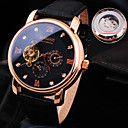Herren Armbanduhr Mechanische Uhr Wasserdicht Automatikaufzug Leder Band Glanz Luxuriös Schwarz Braun