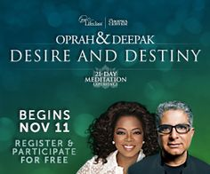 Join me & the largest meditating community in human history for the FREE 21-Day Meditation Experience http://www.chopracentermeditation.com #oprahdeepak