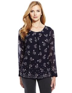 M&S Collection Pleated Neckline Jewel Print Blouse-Marks & Spencer