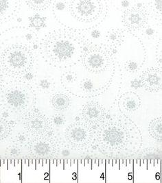 Christmas Cotton Fabric-Scrolly Snowflakes Metallic