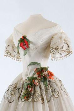 Evening Dress, detail, ca. 1850, The Metropolitan Museum of Art.