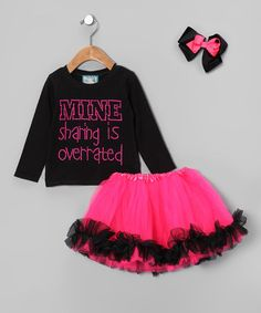 Take a look at this Black 'Mine' Tutu Set - Infant, Toddler & Girls by Born 4 Couture on #zulily today!