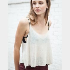 Brandy Esther Knit Crop Sweater Tank NWT New with tags. Perfect condition. Tan color. One size fits most. Brandy Melville Tops Tank Tops
