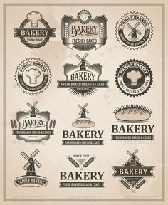 Bakery Labels & Badges Set 1 #photoshop #psd #logos #typography • Available here → https://graphicriver.net/item/bakery-labels-badges-set-1/7751274?ref=pxcr