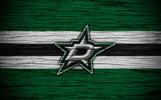 Download wallpapers Dallas Stars, 4k, NHL, hockey club, Western Conference, USA, logo, wooden texture, hockey, Central Division
