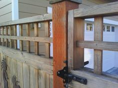 Cedar fence lever latch detail. - Modern Design#cedar #design #detail #fence #latch #lever #modern Cedar Wood Fence, Wooden Fence, Types Of Fences, Fence Styles, Old Fences, Small Gardens, Growing Plants, Indoor Garden, Amazing Gardens
