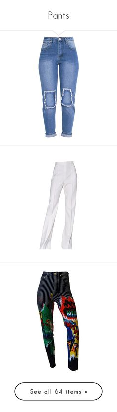 """""""Pants"""" by starz-official ❤ liked on Polyvore featuring jeans, pants, distressing jeans, light wash ripped jeans, light wash distressed jeans, destructed jeans, blue jeans, bottoms, trousers and calças"""
