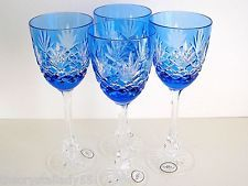 """AJKA ODESSA AZURE BLUE CASED CUT TO CLEAR CRYSTAL 8 7/8""""  WATER GOBLETS Set of 4"""