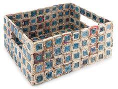 Recycled Newspaper Medallion Basket (12.5x9.75x5.25)