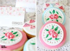 Cookies at a Vintage Shabby Chic Party (cool cookies tea parties) Sweet Cookies, Cute Cookies, Sweet Treats, Shabby Chic Cookies, Vintage Cookies, Crazy Cakes, Bohemian Party, Shabby Chic Birthday, 1st Birthday Cakes