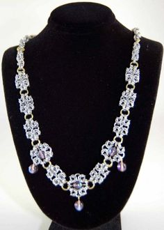 Jewelry :: Necklaces :: Romanov Necklace with Swarovski crytals - Lady Serena's Chainmaille & Leather Works