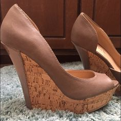 Taupe colored wedges. Size 7.5 Only worn once! Perfect condition. Fits true to size. Charming Charlie Shoes Wedges