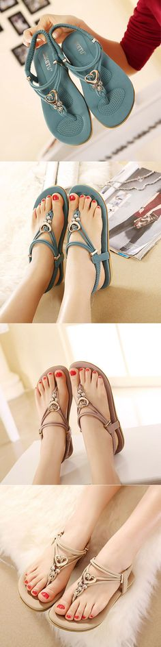 US$23.82  Metal Bohemia Slip On Clip Toe Flat Beach Sandals