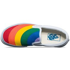 Vans Rainbow Slip-On ($55) ❤ liked on Polyvore featuring shoes, sneakers, pull-on sneakers, vans footwear, slip on trainers, rainbow shoes and rubber slip on shoes