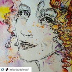 Que presente! Fui desenhada pela linda Juliana Duclós, artista plástica e leitora do AB quem faz um trabalho incrível! Olhem só a delicadeza e expressão, sinto-me lisonjeada