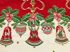 Vintage Christmas Tablecloth Shiny Brite Ornaments Angels Reindeer Mid-century by ToBeJolly on Etsy https://www.etsy.com/listing/493877977/vintage-christmas-tablecloth-shiny-brite