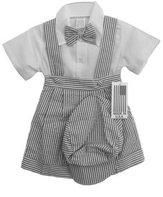 Baby Boys Clothing And Accessories: New Baby Boys Striped Charcoal Shorts Set Outfit Size 18-24 M Wedding Easter BUY IT NOW ONLY: $32.99