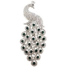Large Green and White Peacock Crystal Pin Brooch - Fantasyard Costume Jewelry & Accessories