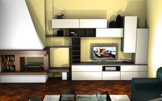 Salotto componibile con camino #living #fireplace #salotto #arredamento #white #design @Sermobil