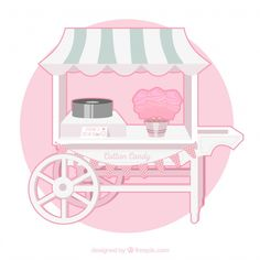 Cute cotton candy cart with awning Free . Nail Art Cupcake, Web Design, Food Design, Coelho Peter, Candy Cart, Building Illustration, House Cake, Cute Cartoon Drawings, Valentines Design